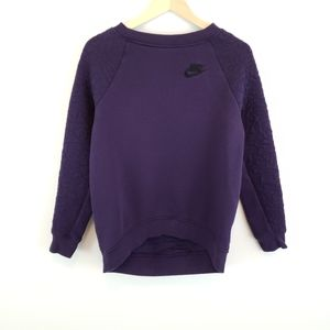 Nike Rally Quilted Crew Neck Sweatshirt In Purple
